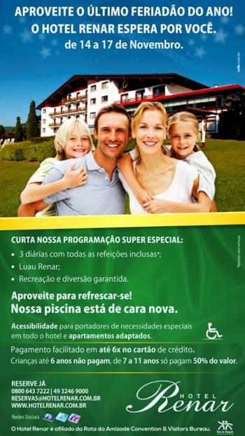 Pacote Feriado - Hotel Renar - Fraiburgo